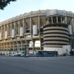 View of Santiago Bernabeu Stadium in Madrid (Spain) from the south-west angle.