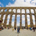 Roman Aqueduct and Azoguejo Square, Segovia. Castilla-Leon, Spain